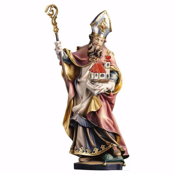Picture of Saint Gerardo with Church wooden Statue cm 25 (9,8 inch) painted with oil colours Val Gardena