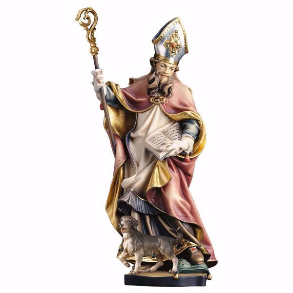 Picture of Saint Godfrey of Amiens with dog wooden Statue cm 25 (9,8 inch) painted with oil colours Val Gardena