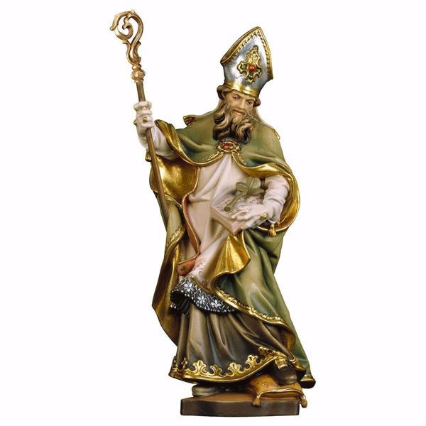 Picture of Saint Patrick of Ireland with cloverleaf wooden Statue cm 25 (9,8 inch) painted with oil colours Val Gardena
