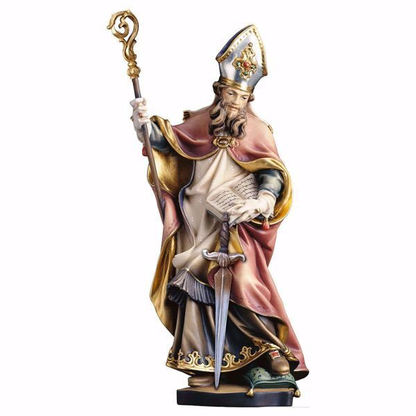Picture of Saint Thomas Becket with sword wooden Statue cm 25 (9,8 inch) painted with oil colours Val Gardena