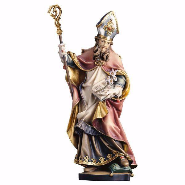 Imagen de Estatua San Vital con lirio cm 25 (9,8 inch) pintada al óleo en madera Val Gardena