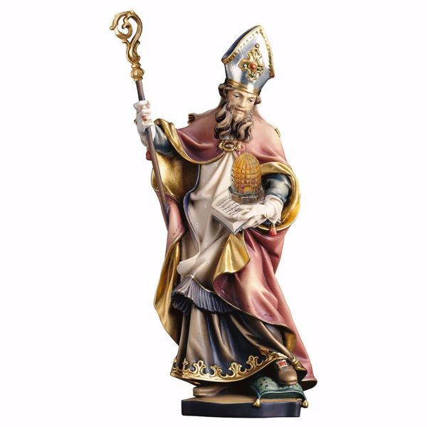 Picture of Saint Ambrose with beehive wooden Statue cm 25 (9,8 inch) painted with oil colours Val Gardena