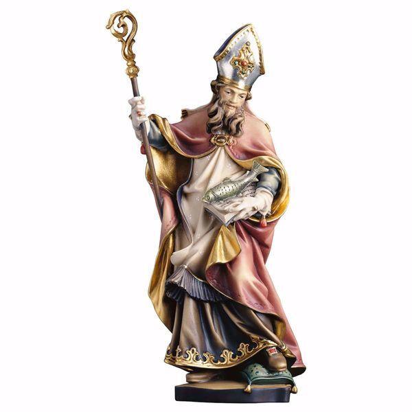 Immagine di Statua Sant' Ulrico con pesce cm 25 (9,8 inch) dipinta ad olio in legno Val Gardena
