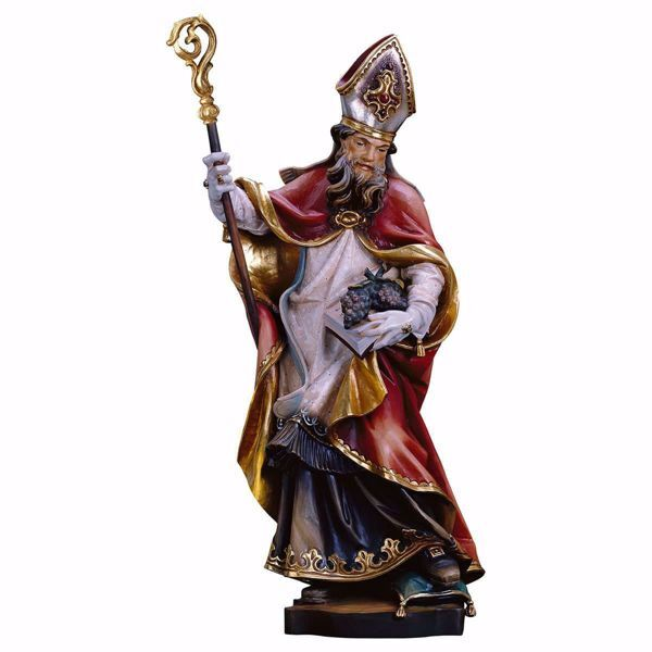 Picture of Saint Urban with grapes wooden Statue cm 25 (9,8 inch) painted with oil colours Val Gardena