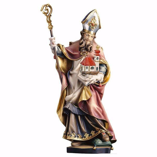 Picture of Saint Wolfgang of Regensburg with Church wooden Statue cm 25 (9,8 inch) painted with oil colours Val Gardena
