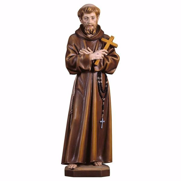 Immagine di Statua San Francesco d´Assisi con croce cm 30 (11,8 inch) dipinta ad olio in legno Val Gardena