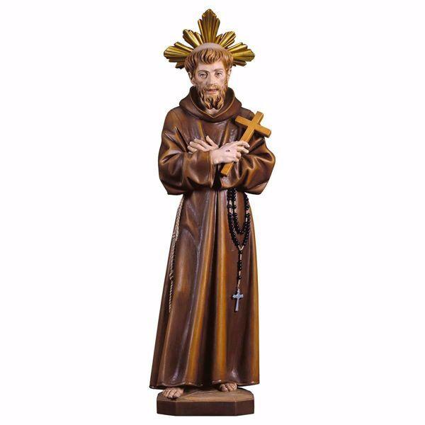 Imagen de Estatua San Francisco de Asís con Cruz y Aureola cm 30 (11,8 inch) pintada al óleo en madera Val Gardena
