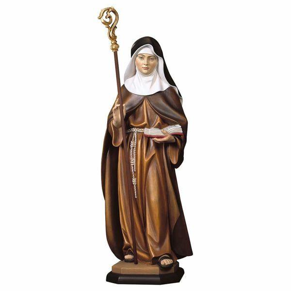 Imagen de Estatua Santa Aldegunda de Maubeuge con Báculo Pastoral cm 30 (11,8 inch) pintada al óleo en madera Val Gardena