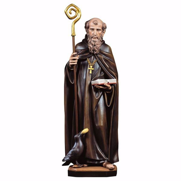Picture of Saint Benedict of Nursia with crow and bread wooden Statue cm 30 (11,8 inch) painted with oil colours Val Gardena