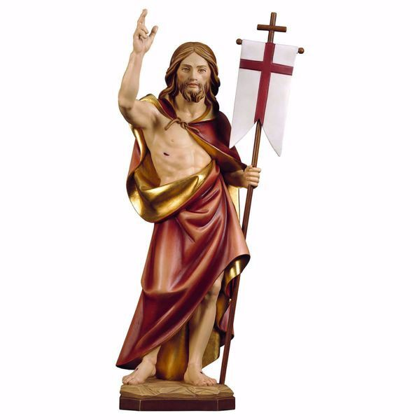 Imagen de Resurrección de Jesús Cristo cm 18 (7,1 inch) Estatua pintada al óleo en madera Val Gardena