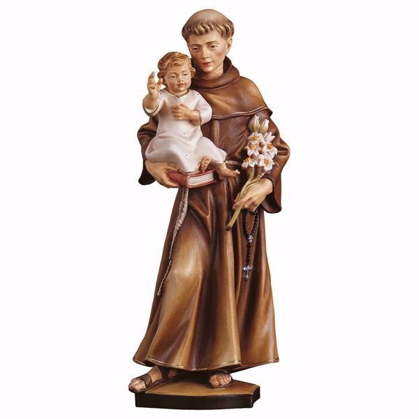 Picture of Saint Anthony of Padua wooden Statue cm 30 (11,8 inch) painted with oil colours Val Gardena