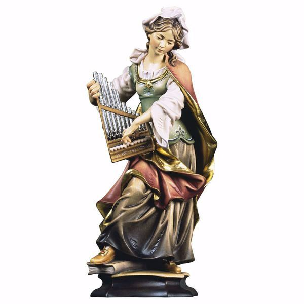 Picture of Saint Cecilia of Rome with organ wooden Statue cm 30 (11,8 inch) painted with oil colours Val Gardena