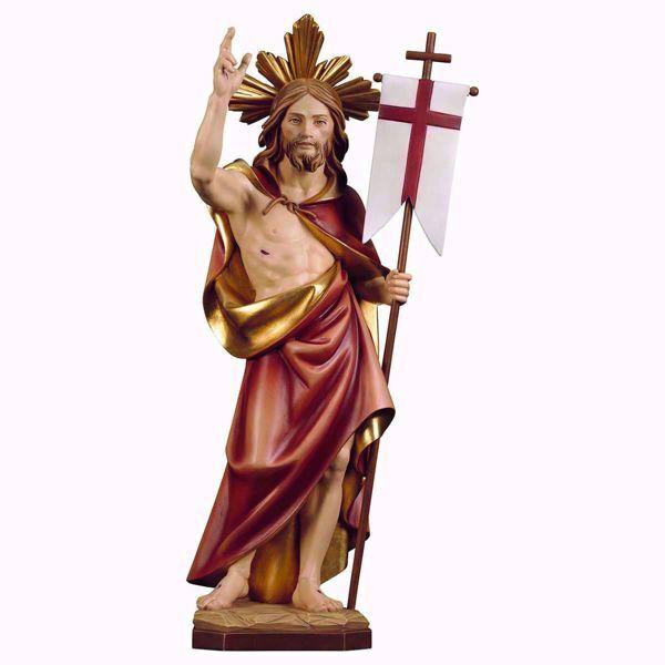 Immagine di Risurrezione di Gesù Cristo con Raggiera cm 46 (18,1 inch) Statua dipinta ad olio in legno Val Gardena