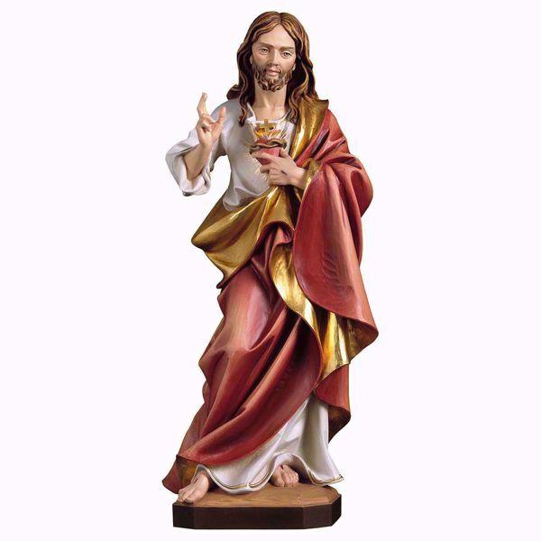 Imagen de Sagrado Corazón de Jesús cm 85 (33,5 inch) Estatua pintada al óleo en madera Val Gardena