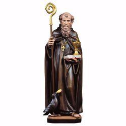 Immagine di Statua San Benedetto da Norcia con calice serpente corvo e pane cm 30 (11,8 inch) dipinta ad olio in legno Val Gardena