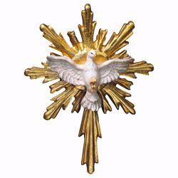 Immagine di Colomba dello Spirito Santo con Raggiera lunga cm 6x5 (2,4x2,0 inch) Scultura dipinta ad olio in legno Val Gardena
