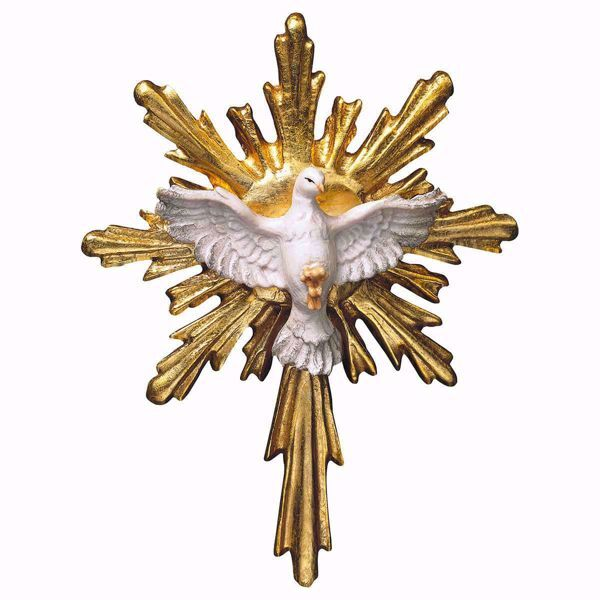 Picture of Dove of the Holy Spirit with long Aureole cm 8x7 (3,1x2,8 inch) wooden Sculpture painted with oil colours Val Gardena