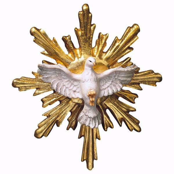 Picture of Dove of the Holy Spirit with round Aureole cm 4 (1,6 inch) wooden Sculpture painted with oil colours Val Gardena