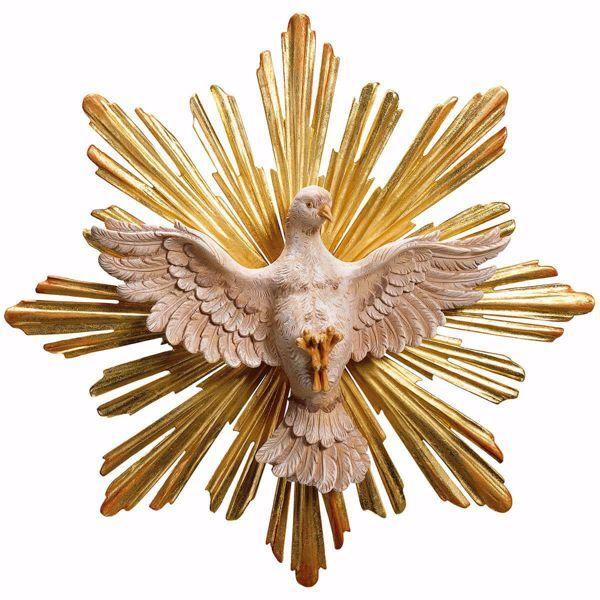 Imagen de Paloma del Espíritu Santo con Aureola Set 2 Piezas cm 10 (3,9 inch) Escultura pintada al óleo en madera Val Gardena