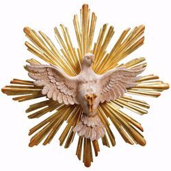 Picture of Dove of the Holy Spirit with Aureole Set 2 Pieces cm 35 (13,8 inch) wooden Sculpture painted with oil colours Val Gardena