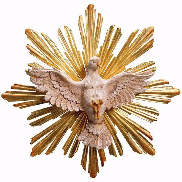 Imagen de Paloma del Espíritu Santo con Aureola Set 2 Piezas cm 35 (13,8 inch) Escultura pintada al óleo en madera Val Gardena