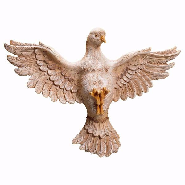 Picture of Dove of the Holy Spirit without Aureole cm 25x35 (9,8x13,8 inch) wooden Sculpture painted with oil colours Val Gardena