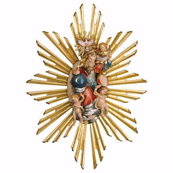 Imagen de Santísima Trinidad con Aureola cm 30x25 (11,8x9,4 inch Escultura pintada al óleo en madera Val Gardena