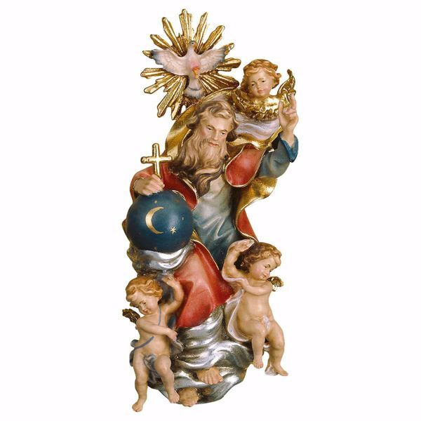 Picture of Glorious Holy Trinity without Aureole cm 12 (4,7 inch) wooden Sculpture painted with oil colours Val Gardena