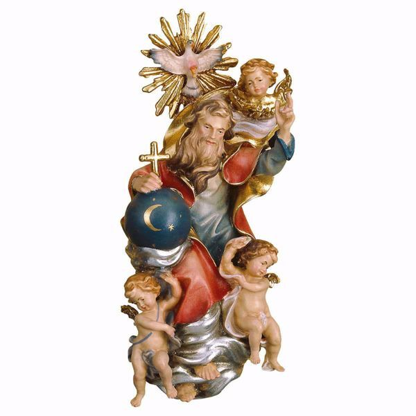 Picture of Glorious Holy Trinity without Aureole cm 20 (7,9 inch) wooden Sculpture painted with oil colours Val Gardena