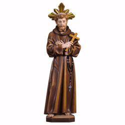 Immagine di Statua San Francesco d´Assisi con croce e Raggiera cm 35 (13,8 inch) dipinta ad olio in legno Val Gardena