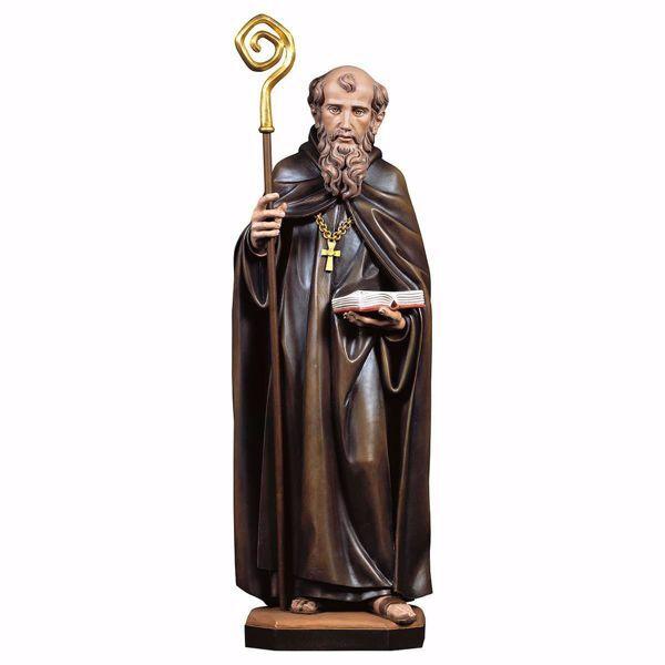 Imagen de Estatua San Benito de Nursia cm 35 (13,8 inch) pintada al óleo en madera Val Gardena
