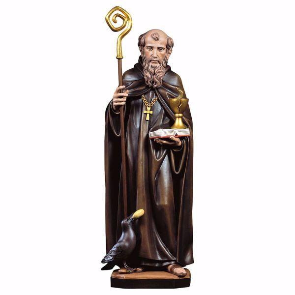 Immagine di Statua San Benedetto da Norcia con calice serpente corvo e pane cm 35 (13,8 inch) dipinta ad olio in legno Val Gardena