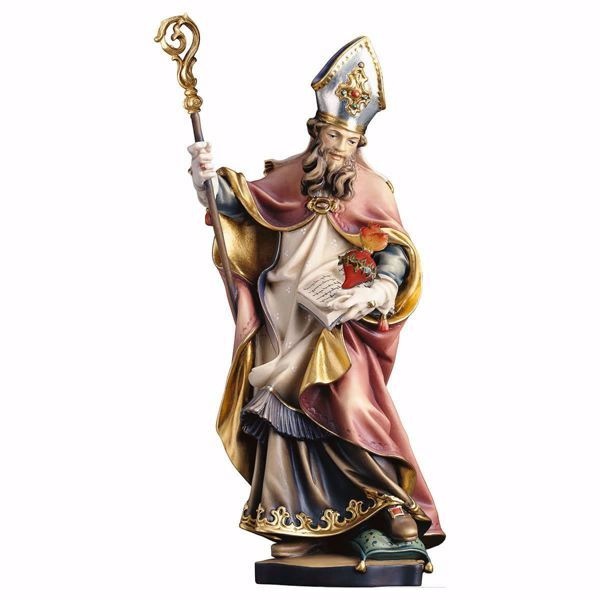 Immagine di Statua San Francesco di Sales con cuore spinato cm 35 (13,8 inch) dipinta ad olio in legno Val Gardena