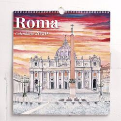 Picture of Rome in watercolours 2020 wall Calendar cm 31x33 (12,2x13 in) Deluxe paper