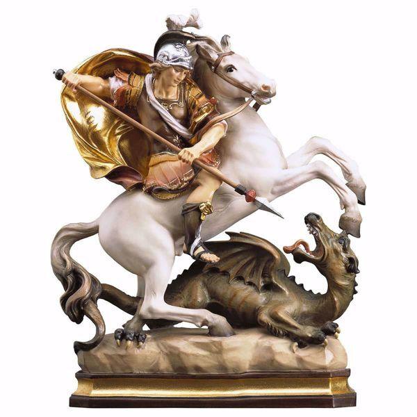 Immagine di Statua San Giorgio a cavallo con drago cm 35 (13,8 inch) dipinta ad olio in legno Val Gardena