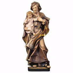 Picture of Saint Joseph with Child and square wooden Statue cm 85 (33,5 inch) painted with oil colours Val Gardena