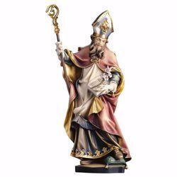Immagine di Statua San Vitale con giglio cm 90 (35,4 inch) dipinta ad olio in legno Val Gardena