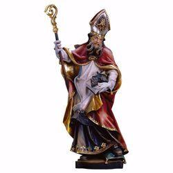 Immagine di Statua Sant' Urbano con uva cm 90 (35,4 inch) dipinta ad olio in legno Val Gardena