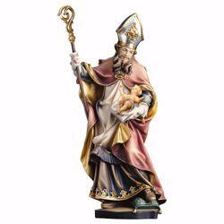Immagine di Statua Santo Vilfrido Vescovo di York con Gesù Bambino cm 90 (35,4 inch) dipinta ad olio in legno Val Gardena