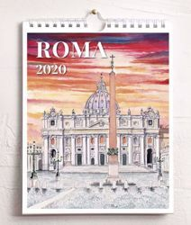 Picture of Calendario da tavolo e da muro 2020 Vedute di Roma in acquerello cm 16,5x21