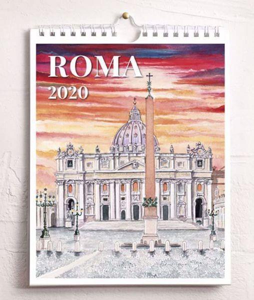 Imagen de Calendario da tavolo e da muro 2020 Vedute di Roma in acquerello cm 16,5x21