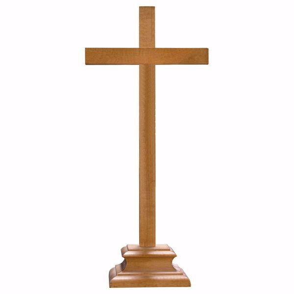 Immagine di Croce da mensa con piedistallo cm 32x15 (12,6x5,9 inch) Scultura Brunita in legno Val Gardena