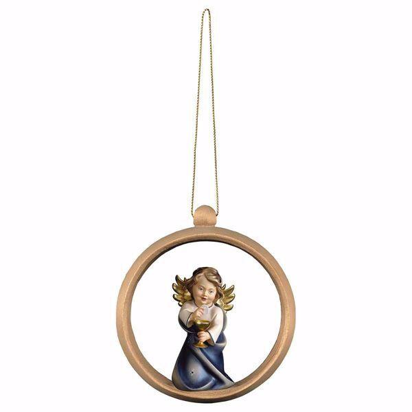 Immagine di Angelo Custode con calice Cornice ad Anello Diam. cm 10 (3,9 inch) Decorazione Albero Natale dipinta ad olio in legno Val Gardena