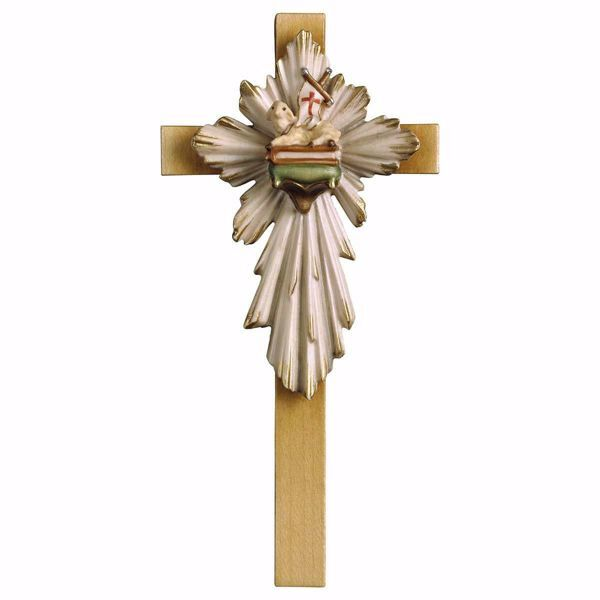 Picture of Easter Lamb Cross cm 13x6 (5,1x2,4 inch) wooden Wall Sculpture painted with oil colours Val Gardena