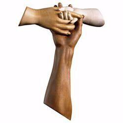 Imagen de Cruz Tau de la Amistad cm 15x12 (5,9x4,7 inch) Escultura de pared bruñida en madera Val Gardena