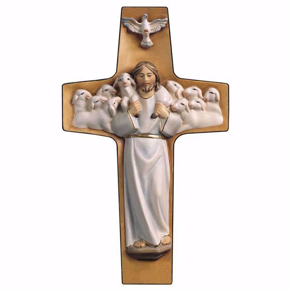 Picture of Cross Good Shepherd White cm 14x8 (5,5x3,1 inch) wooden Wall Sculpture painted with oil colours Val Gardena