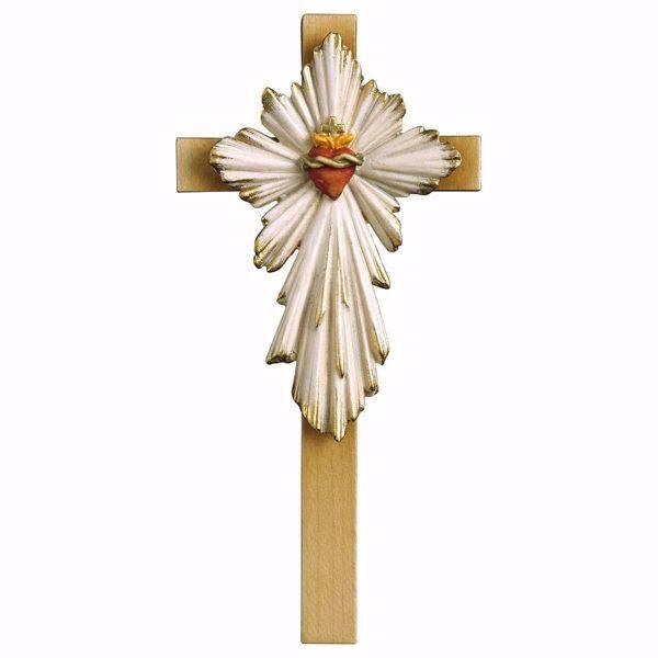 Imagen de Cruz Sagrado Corazón de Jesús cm 17x8 (6,7x3,1 inch) Escultura de pared pintada al óleo en madera Val Gardena