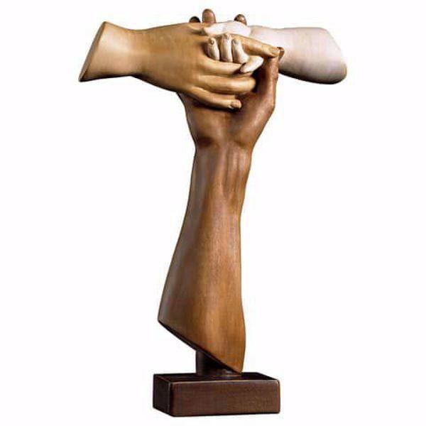 Immagine di Croce Tau dell´Amicizia con piedistallo cm 17x12 (6,7x4,7 inch) Scultura Brunita in legno Val Gardena