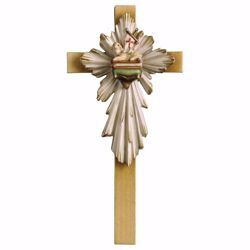 Picture of Easter Lamb Cross cm 21x10 (8,3x3,9 inch) wooden Wall Sculpture painted with oil colours Val Gardena