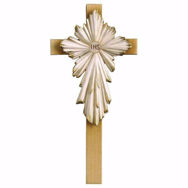 Immagine di Croce Santa Prima Comunione cm 21x10 (8,3x3,9 inch) Scultura da parete dipinta ad olio in legno Val Gardena